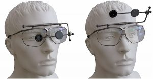 The Dynamik shotting glasses by Müller Manching. You can swing up the iris simultaneously with the cover plate.